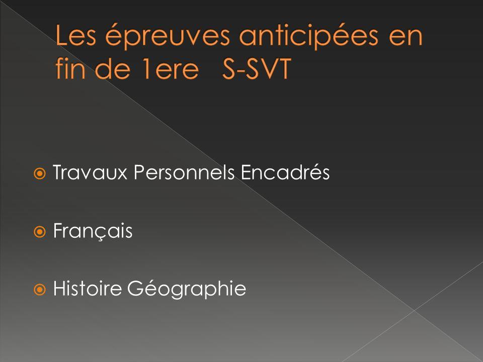 Travaux Personnels Encadrés Français Histoire Géographie
