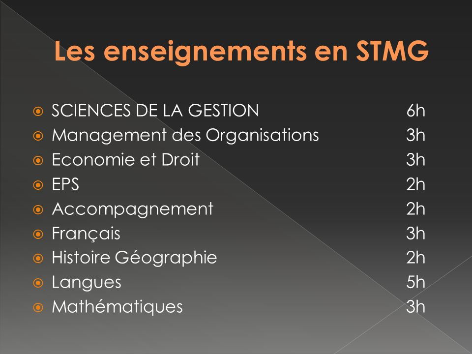 SCIENCES DE LA GESTION6h Management des Organisations3h Economie et Droit3h EPS2h Accompagnement 2h Français 3h Histoire Géographie2h Langues5h Mathématiques3h