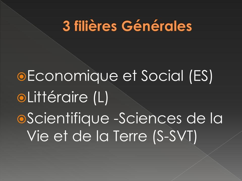 Economique et Social (ES) Littéraire (L) Scientifique -Sciences de la Vie et de la Terre (S-SVT)