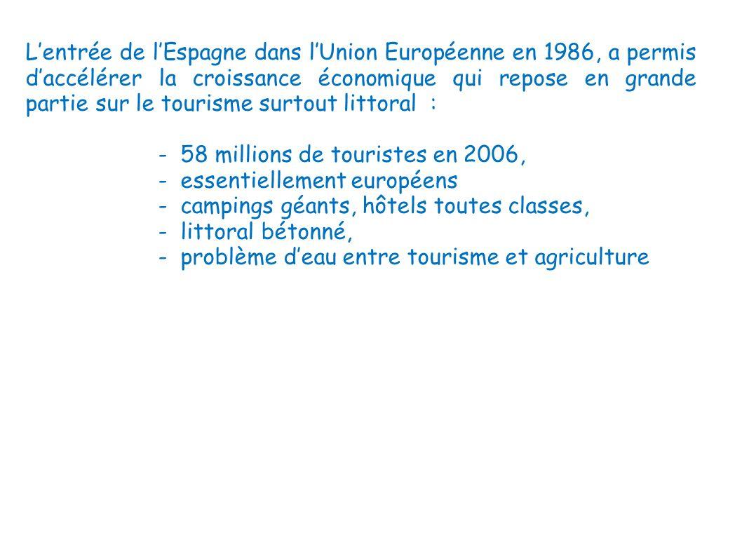 Lentrée de lEspagne dans lUnion Européenne en 1986, a permis daccélérer la croissance économique qui repose en grande partie sur le tourisme surtout l