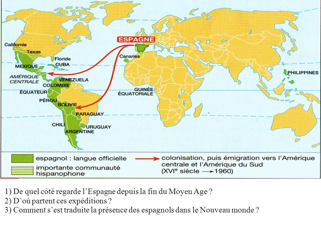 1) De quel côté regarde lEspagne depuis la fin du Moyen Age ? 2) Doù partent ces expéditions ? 3) Comment sest traduite la présence des espagnols dans