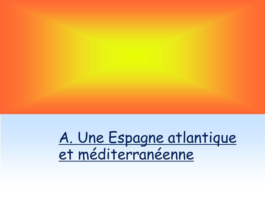 A 14 km de lAfrique, lEspagne appartient au monde méditerranéen par : - son climat, - sa végétation - Mais elle a aussi appartenu au monde musulman quand les arabes lont conquis en partie du VIIIe au XVe siècle.