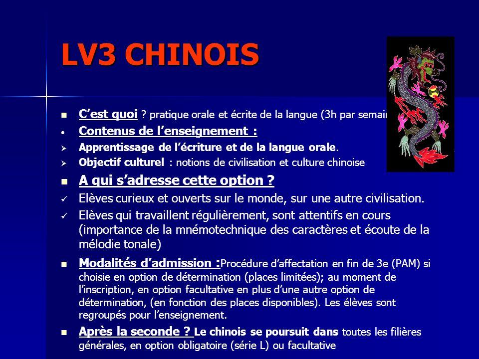 LV3 CHINOIS Cest quoi ? pratique orale et écrite de la langue (3h par semaine) Contenus de lenseignement : Apprentissage de lécriture et de la langue