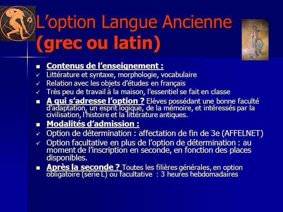 Loption Langue Ancienne (grec ou latin) Contenus de lenseignement : Littérature et syntaxe, morphologie, vocabulaire Relation avec les objets détudes