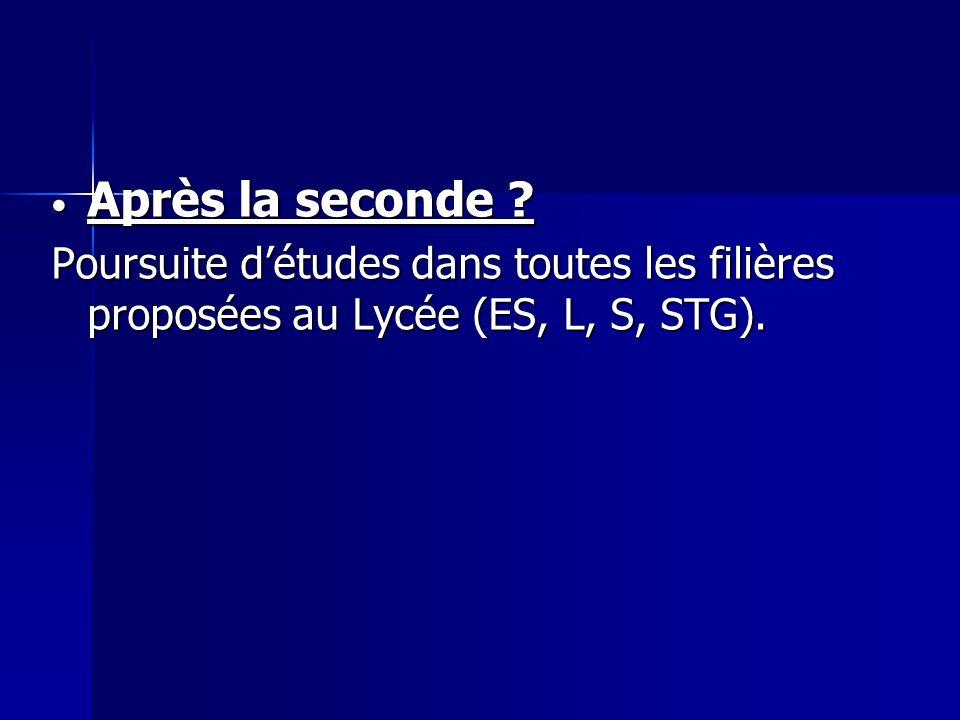 Après la seconde ? Après la seconde ? Poursuite détudes dans toutes les filières proposées au Lycée (ES, L, S, STG).
