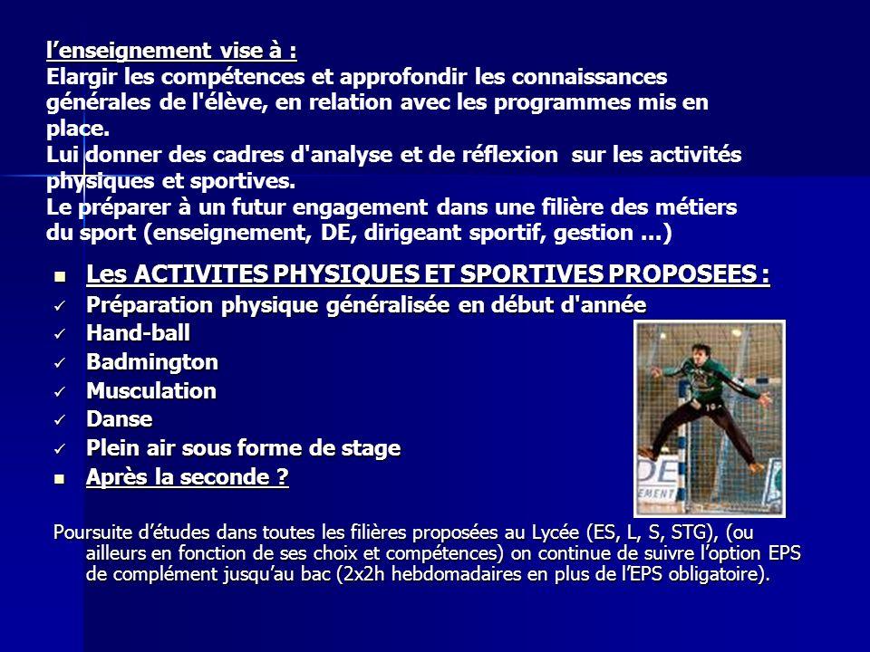 Les ACTIVITES PHYSIQUES ET SPORTIVES PROPOSEES : Les ACTIVITES PHYSIQUES ET SPORTIVES PROPOSEES : Préparation physique généralisée en début d'année Pr