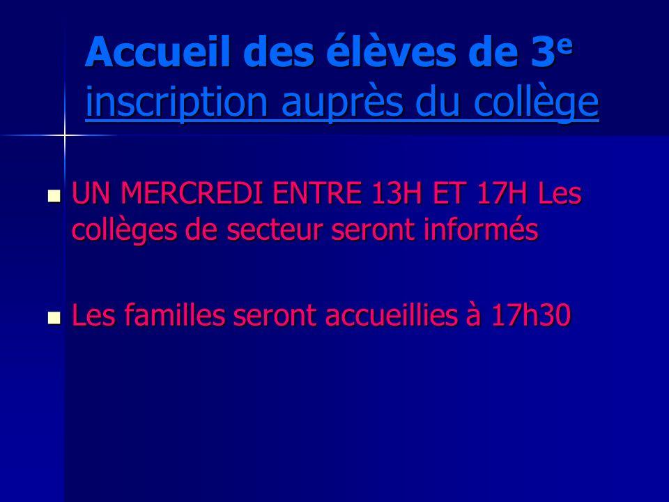 Accueil des élèves de 3 e inscription auprès du collège UN MERCREDI ENTRE 13H ET 17H Les collèges de secteur seront informés UN MERCREDI ENTRE 13H ET