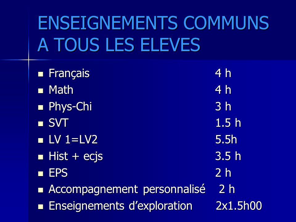 ENSEIGNEMENTS COMMUNS A TOUS LES ELEVES Français 4 h Français 4 h Math4 h Math4 h Phys-Chi 3 h Phys-Chi 3 h SVT 1.5 h SVT 1.5 h LV 1=LV2 5.5h LV 1=LV2