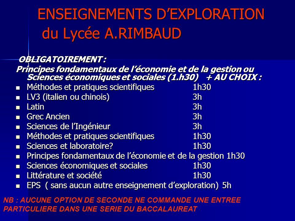 ENSEIGNEMENTS DEXPLORATION du Lycée A.RIMBAUD OBLIGATOIREMENT : OBLIGATOIREMENT : Principes fondamentaux de léconomie et de la gestion ou Sciences éco