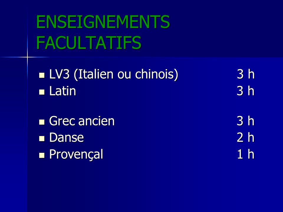 ENSEIGNEMENTS FACULTATIFS LV3 (Italien ou chinois) 3 h LV3 (Italien ou chinois) 3 h Latin3 h Latin3 h Grec ancien3 h Grec ancien3 h Danse2 h Danse2 h