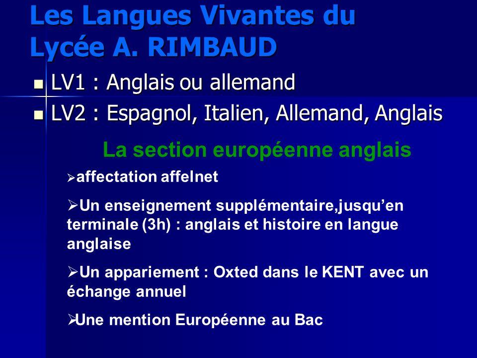 Les Langues Vivantes du Lycée A. RIMBAUD LV1 : Anglais ou allemand LV1 : Anglais ou allemand LV2 : Espagnol, Italien, Allemand, Anglais LV2 : Espagnol