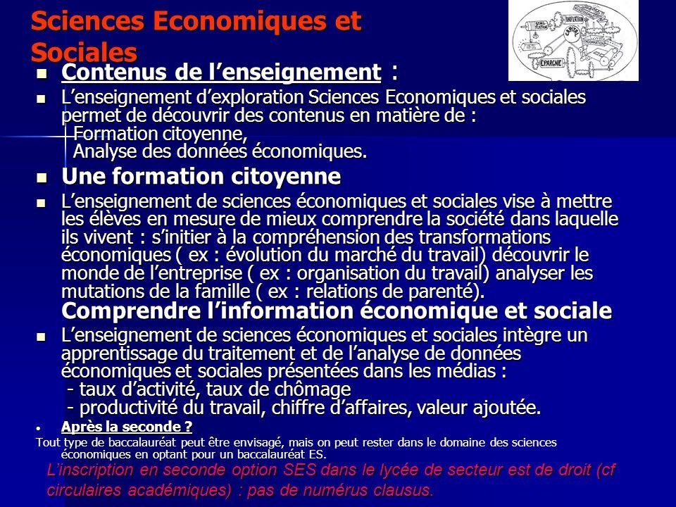 Sciences Economiques et Sociales Contenus de lenseignement : Contenus de lenseignement : Lenseignement dexploration Sciences Economiques et sociales p