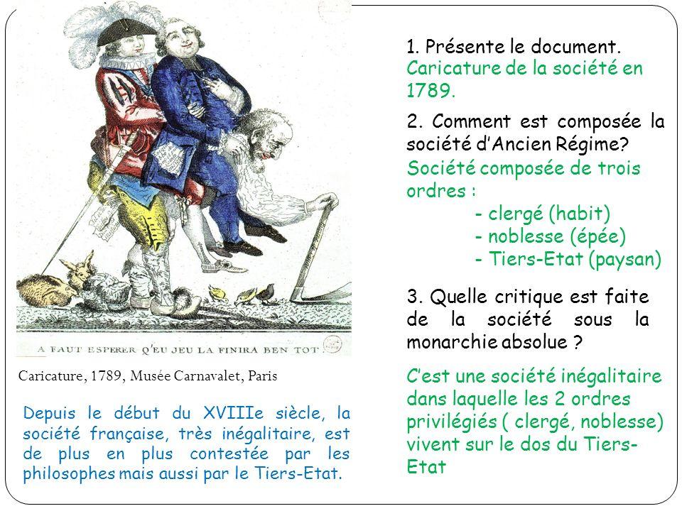 1. Présente le document. 2. Comment est composée la société dAncien Régime? 3. Quelle critique est faite de la société sous la monarchie absolue ? Car