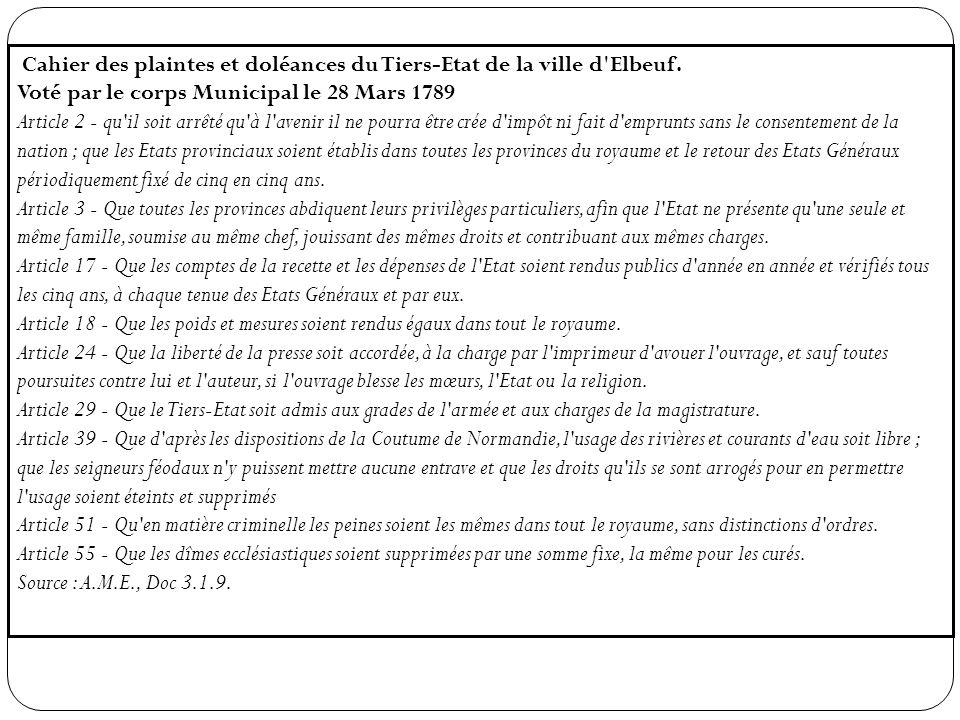 Cahier des plaintes et doléances du Tiers-Etat de la ville d'Elbeuf. Voté par le corps Municipal le 28 Mars 1789 Article 2 - qu'il soit arrêté qu'à l'