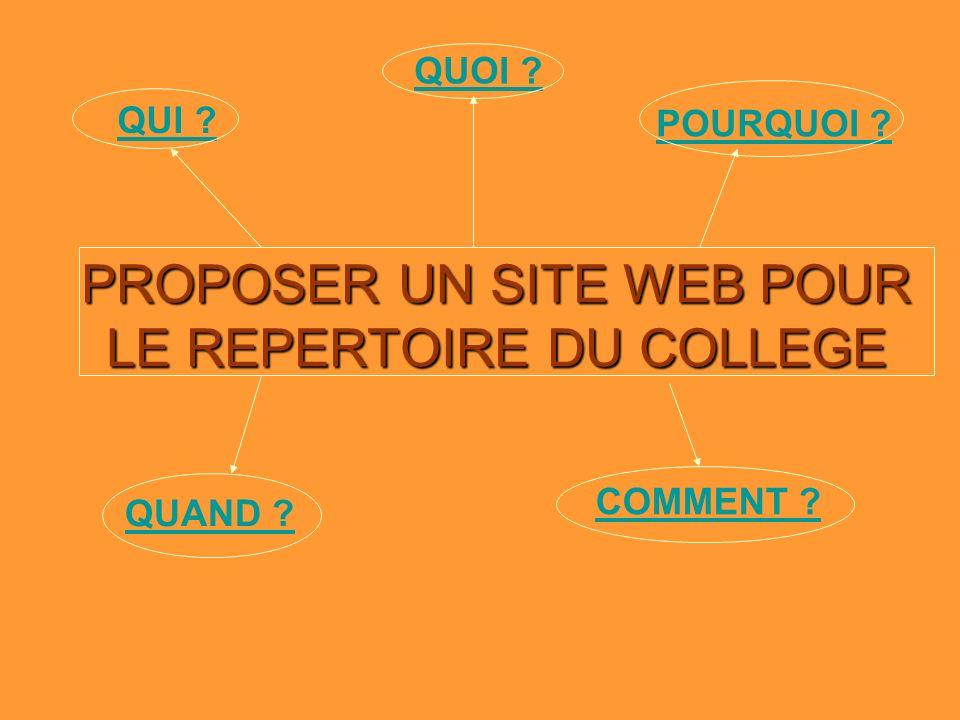 PROPOSER UN SITE WEB POUR LE REPERTOIRE DU COLLEGE QUI POURQUOI QUOI QUAND COMMENT