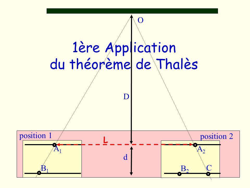 1ère Application du théorème de Thalès D d O A1A1 A2A2 L B1B1 position 1 position 2 B2B2 C