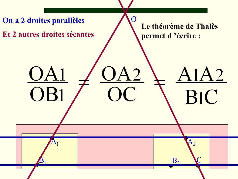 O A1A1 A2A2 B1B1 B2B2 C On a 2 droites parallèles Et 2 autres droites sécantes Le théorème de Thalès permet d écrire :