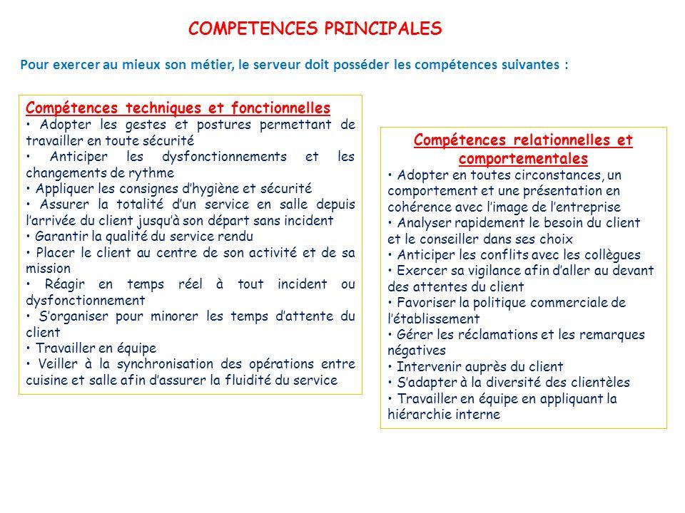 COMPETENCES PRINCIPALES Pour exercer au mieux son métier, le serveur doit posséder les compétences suivantes : Compétences techniques et fonctionnelle