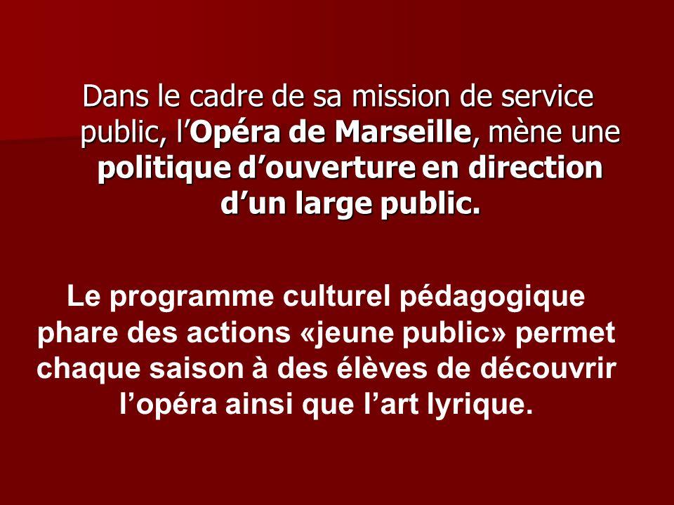 Dans le cadre de sa mission de service public, lOpéra de Marseille, mène une politique douverture en direction dun large public.