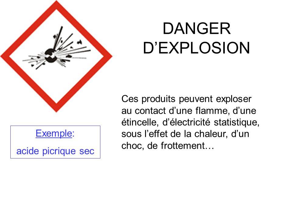 DANGER DINCENDIE Ces produits peuvent senflammer, suivant le cas: Au contact dune flamme, dune étincelle, délectricité statistique…; Sous leffet de la chaleur, de frottement; Au contact de lair; Au contact de leau, sils dégagent des gaz inflammables Exemples: Ethanol, Ether, Acétone…