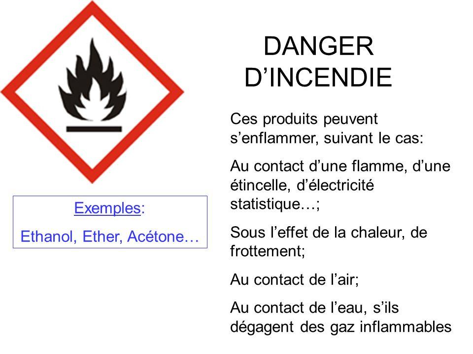 PRODUITS COMBURANTS Ces produits peuvent provoquer ou aggraver un incendie, ou même provoquer une explosion sils sont en présence de produits inflammables.