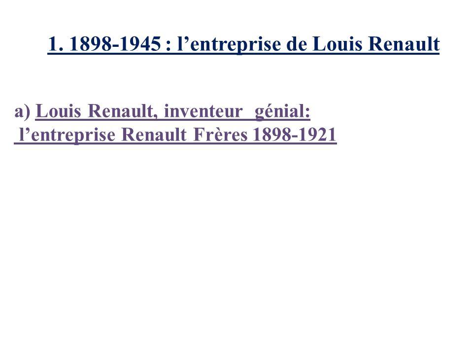 1. 1898-1945 : lentreprise de Louis Renault a) Louis Renault, inventeur génial: lentreprise Renault Frères 1898-1921