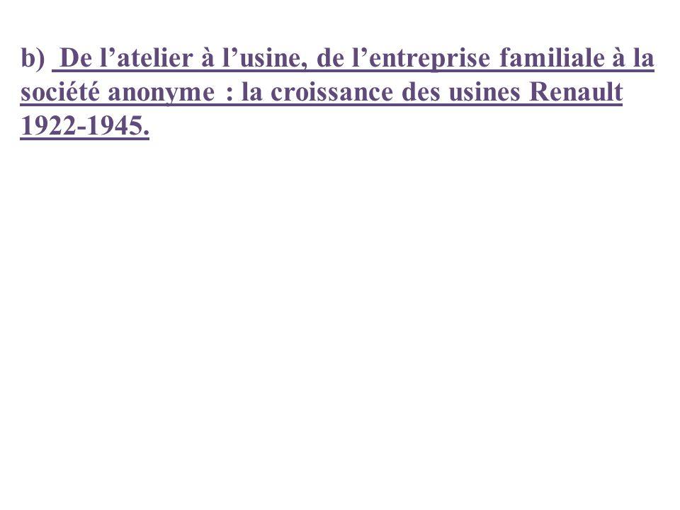 b) De latelier à lusine, de lentreprise familiale à la société anonyme : la croissance des usines Renault 1922-1945.