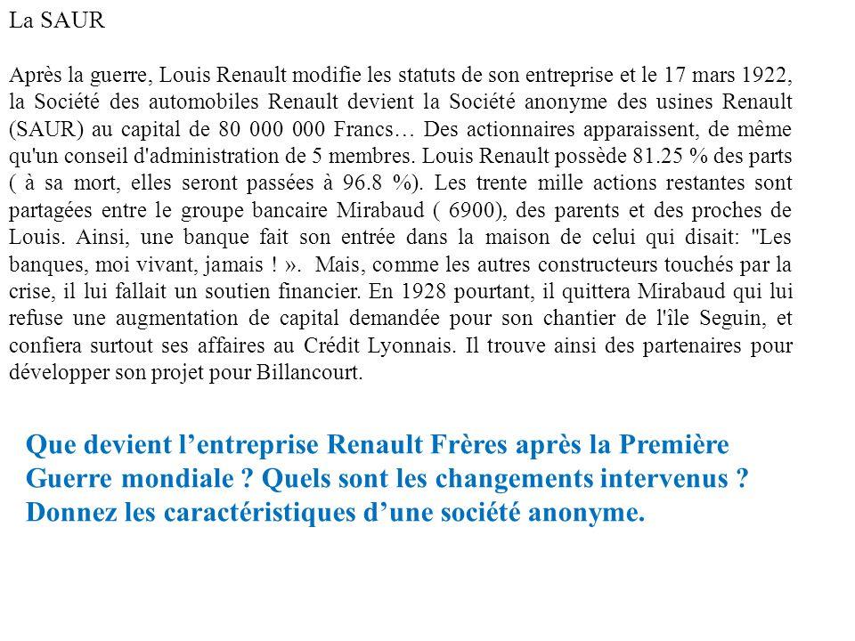 La SAUR Après la guerre, Louis Renault modifie les statuts de son entreprise et le 17 mars 1922, la Société des automobiles Renault devient la Société