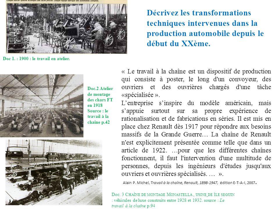 Doc 1. : 1900 : le travail en atelier. Doc. 3 C HAÎNE DE MONTAGE M ONASTELLA, USINE DE ÎLE SEGUIN : véhicules de luxe construits entre 1928 et 1932. s