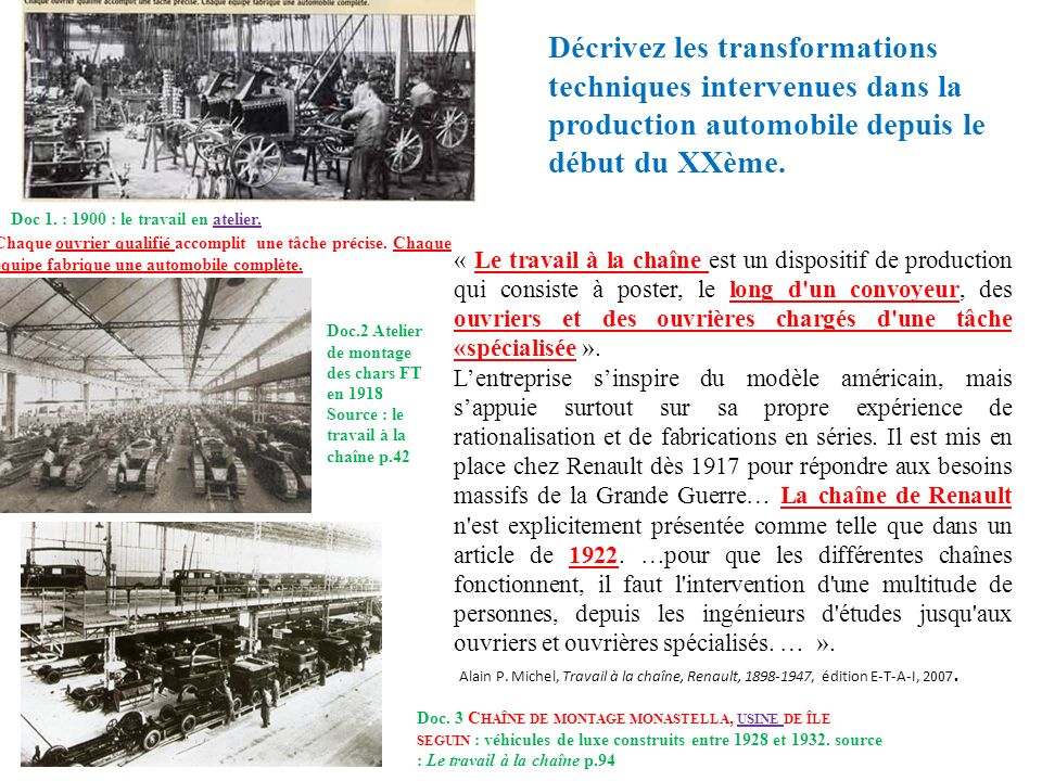 Doc 1. : 1900 : le travail en atelier. Doc. 3 C HAÎNE DE MONTAGE MONASTELLA, USINE DE ÎLE SEGUIN : véhicules de luxe construits entre 1928 et 1932. so