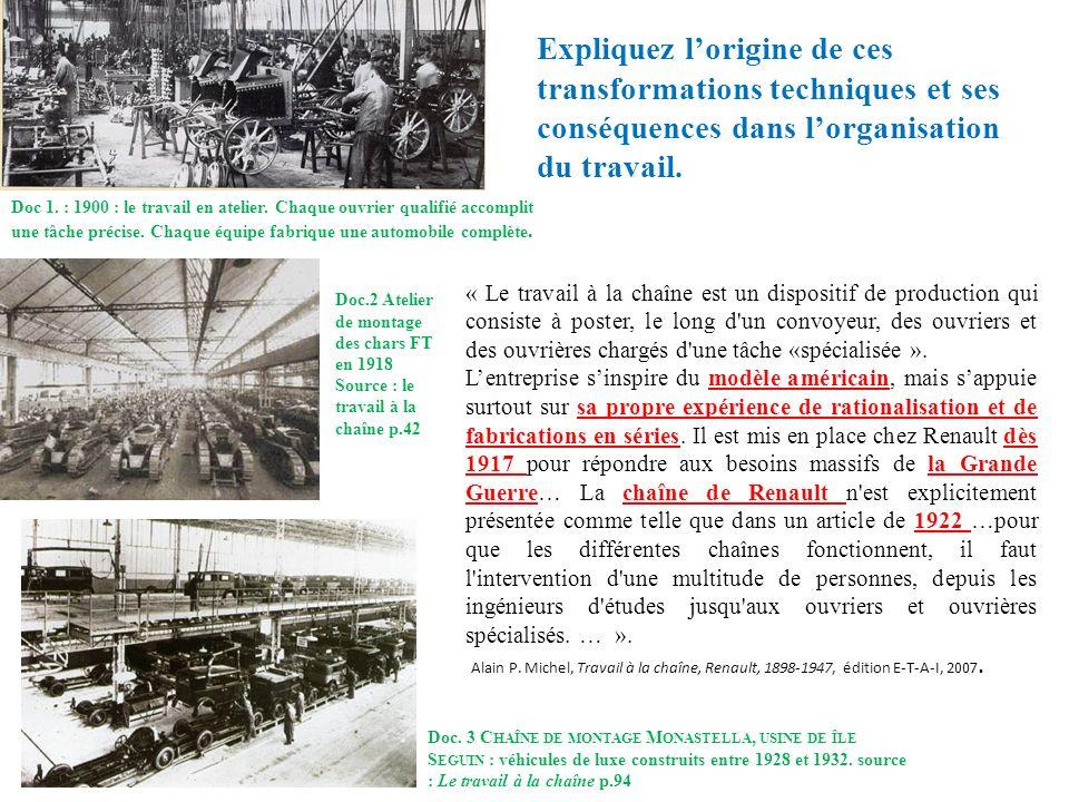 Doc 1. : 1900 : le travail en atelier. Chaque ouvrier qualifié accomplit une tâche précise. Chaque équipe fabrique une automobile complète. Doc. 3 C H