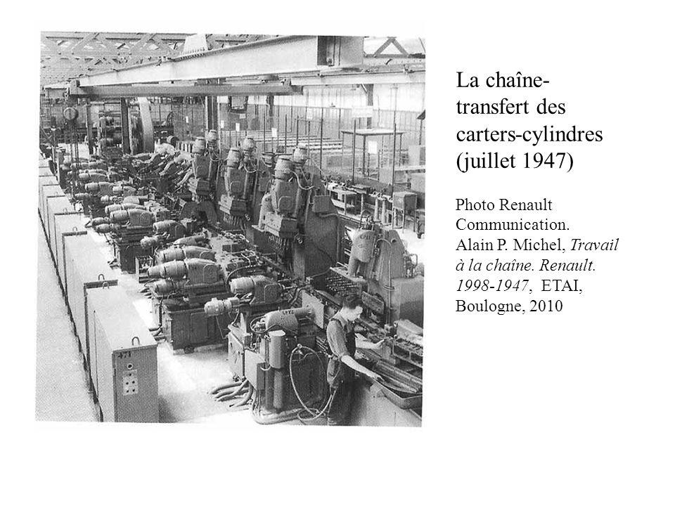 La chaîne- transfert des carters-cylindres (juillet 1947) Photo Renault Communication. Alain P. Michel, Travail à la chaîne. Renault. 1998-1947, ETAI,