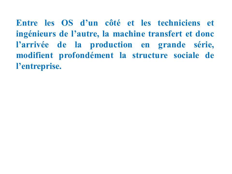 Entre les OS dun côté et les techniciens et ingénieurs de lautre, la machine transfert et donc larrivée de la production en grande série, modifient pr