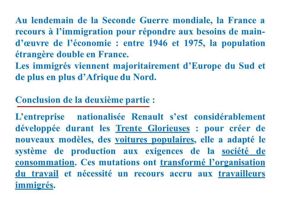 Au lendemain de la Seconde Guerre mondiale, la France a recours à limmigration pour répondre aux besoins de main- dœuvre de léconomie : entre 1946 et