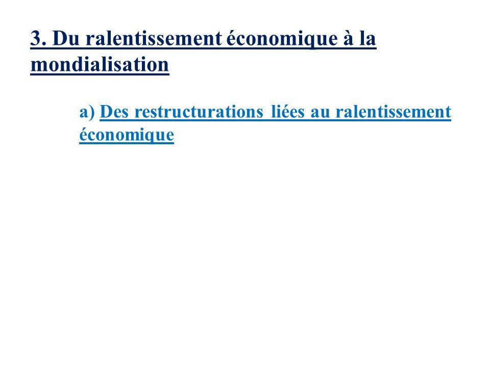 3. Du ralentissement économique à la mondialisation a) Des restructurations liées au ralentissement économique