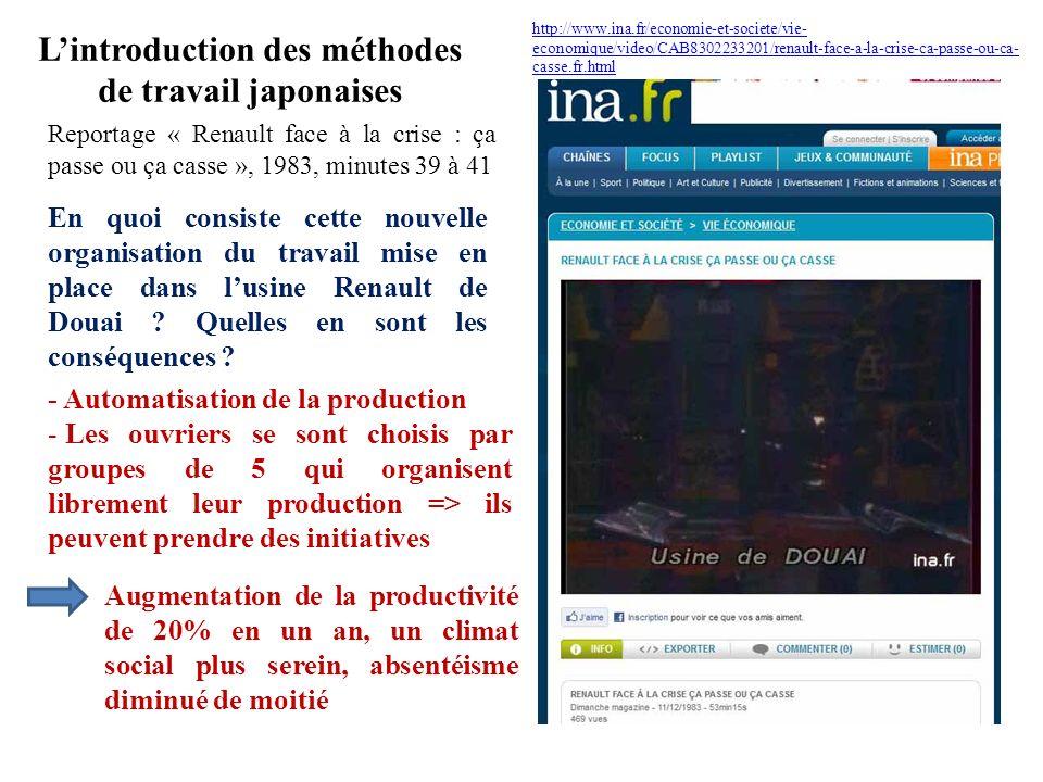 Lintroduction des méthodes de travail japonaises http://www.ina.fr/economie-et-societe/vie- economique/video/CAB8302233201/renault-face-a-la-crise-ca-