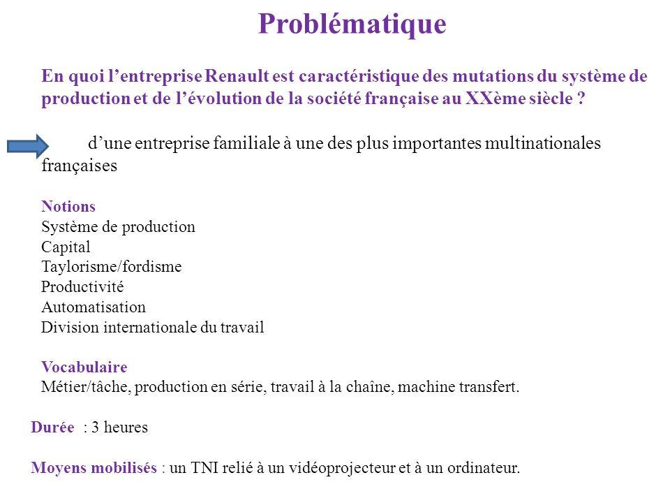 Problématique En quoi lentreprise Renault est caractéristique des mutations du système de production et de lévolution de la société française au XXème