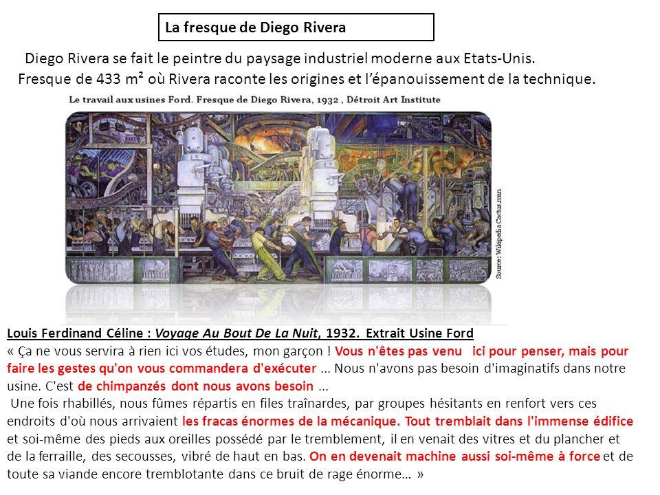 Fresque de 433 m² où Rivera raconte les origines et lépanouissement de la technique. Diego Rivera se fait le peintre du paysage industriel moderne aux
