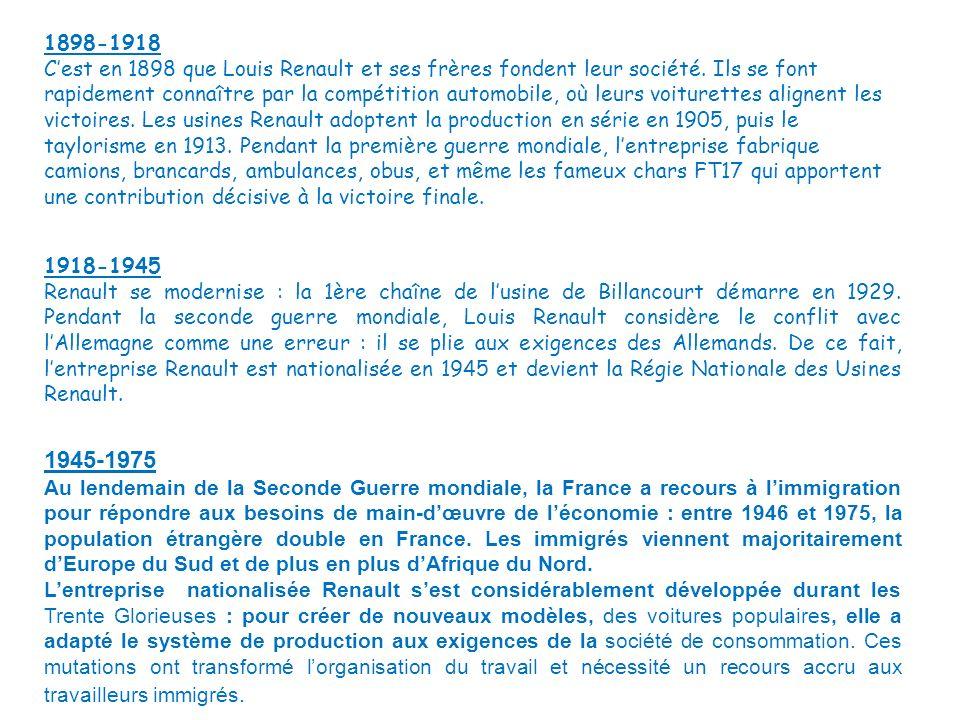 1898-1918 Cest en 1898 que Louis Renault et ses frères fondent leur société. Ils se font rapidement connaître par la compétition automobile, où leurs
