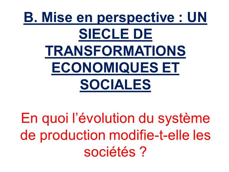 B. Mise en perspective : UN SIECLE DE TRANSFORMATIONS ECONOMIQUES ET SOCIALES En quoi lévolution du système de production modifie-t-elle les sociétés