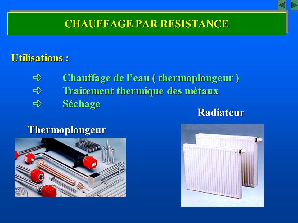 CHAUFFAGE PAR RESISTANCE Utilisations : Thermoplongeur Radiateur Chauffage de leau ( thermoplongeur ) Chauffage de leau ( thermoplongeur ) Traitement