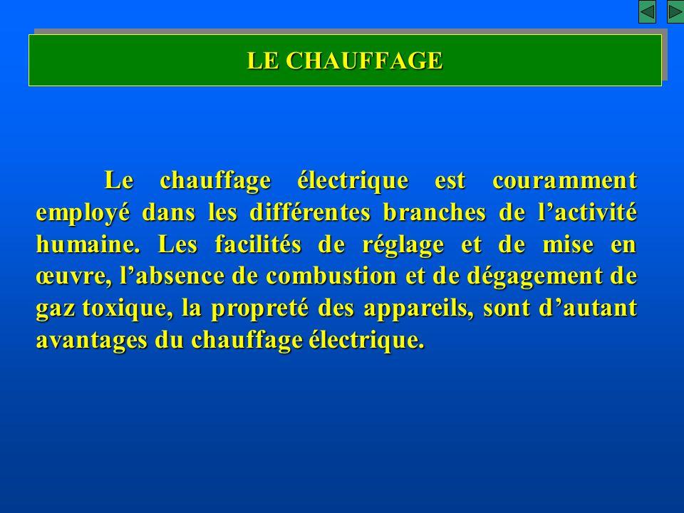 LE CHAUFFAGE Le chauffage électrique est couramment employé dans les différentes branches de lactivité humaine. Les facilités de réglage et de mise en