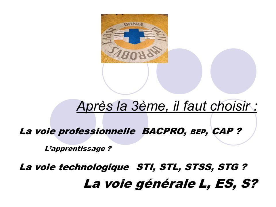 Après la 3ème, il faut choisir : La voie professionnelle BACPRO, BEP, CAP ? Lapprentissage ? La voie technologique STI, STL, STSS, STG ? La voie génér