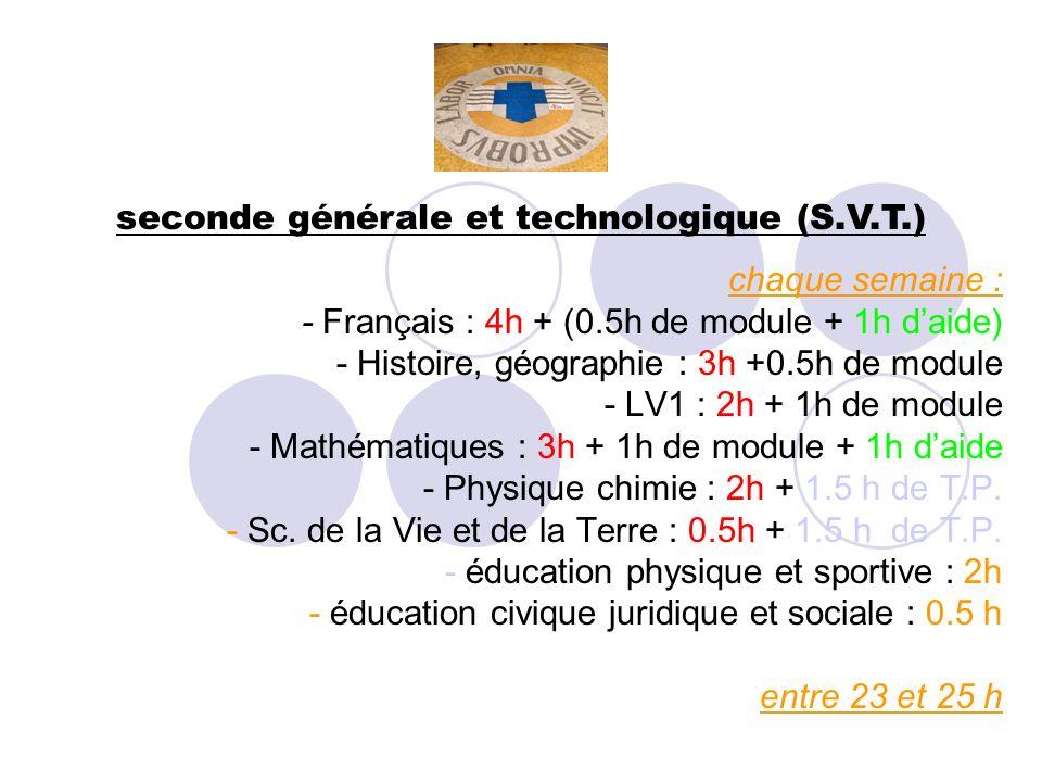 seconde générale et technologique (S.V.T.) chaque semaine : - Français : 4h + (0.5h de module + 1h daide) - Histoire, géographie : 3h +0.5h de module