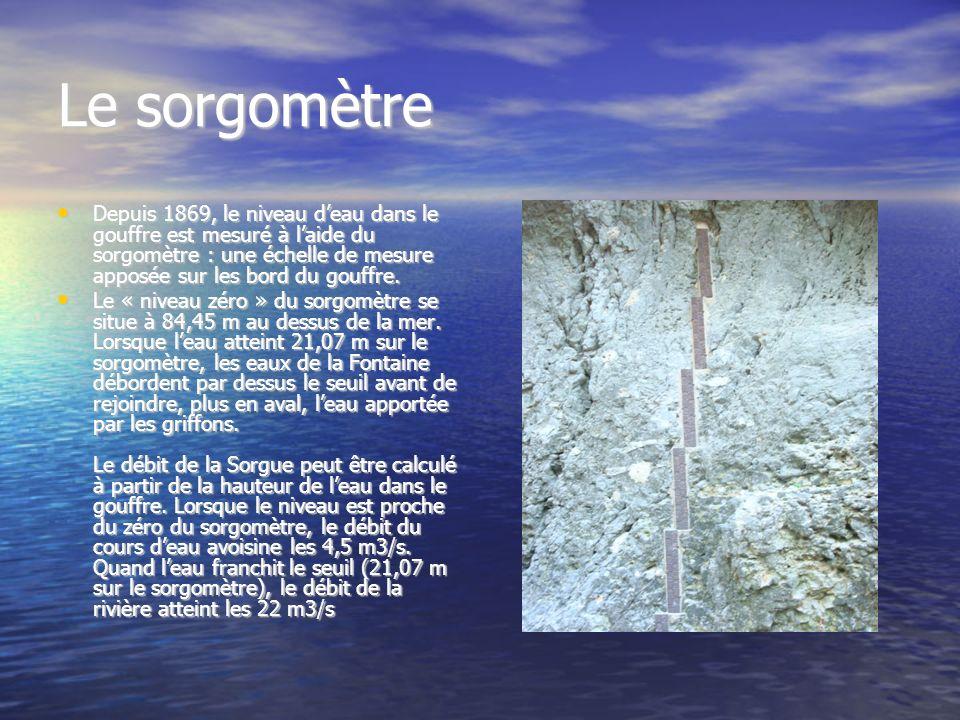 Le gouffre de Fontaine de Vaucluse Au pied d'une falaise verticale de 240 m de hauteur se trouve un puits d'une dizaine de mètres de diamètre. Il est