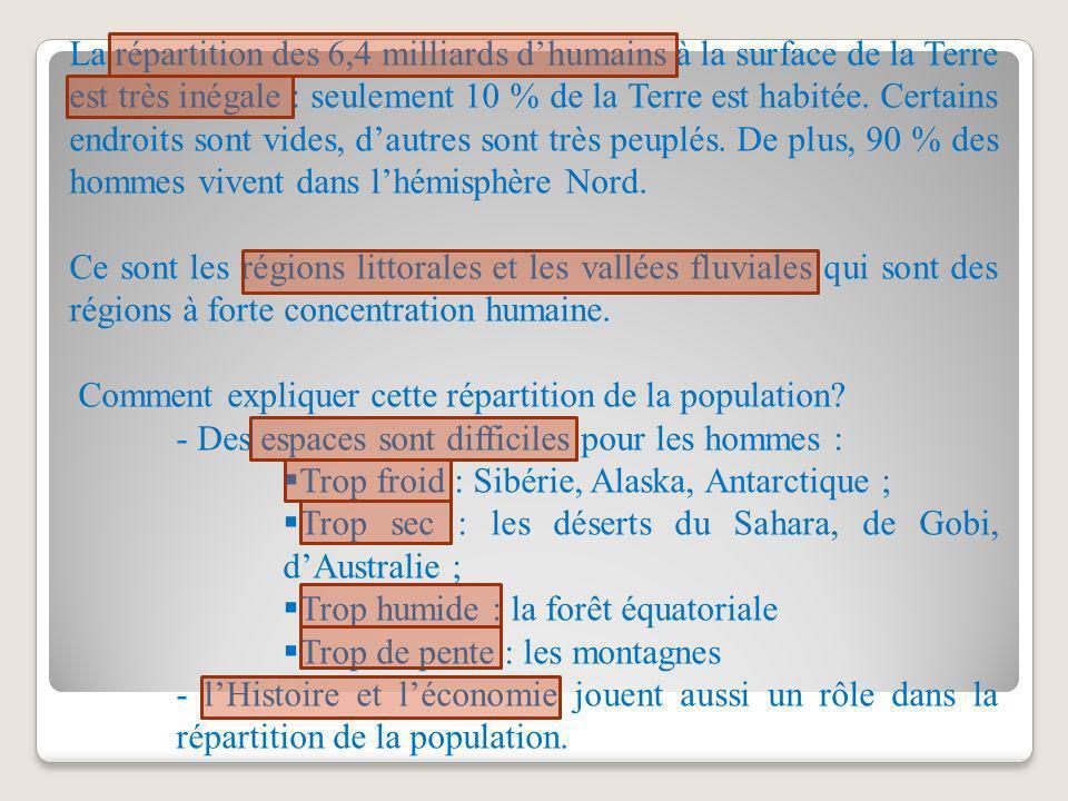 La répartition des 6,4 milliards dhumains à la surface de la Terre est très inégale : seulement 10 % de la Terre est habitée. Certains endroits sont v