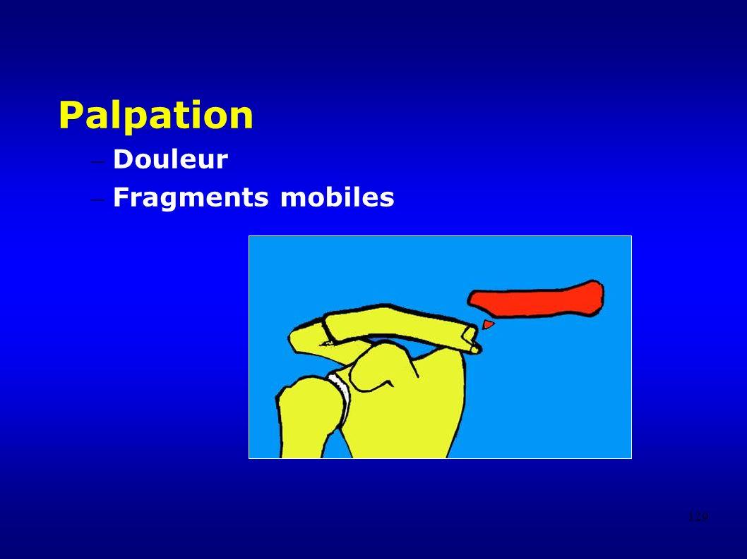 129 Palpation – Douleur – Fragments mobiles