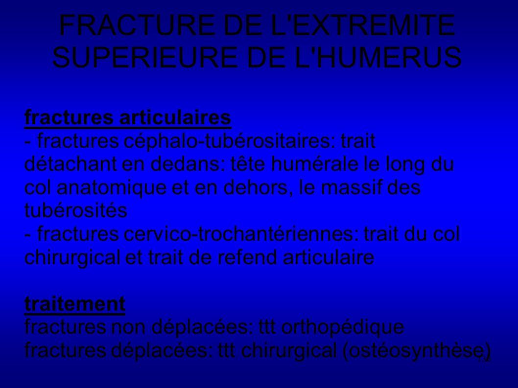 138 FRACTURE DE L EXTREMITE SUPERIEURE DE L HUMERUS fractures articulaires - fractures céphalo-tubérositaires: trait détachant en dedans: tête humérale le long du col anatomique et en dehors, le massif des tubérosités - fractures cervico-trochantériennes: trait du col chirurgical et trait de refend articulaire traitement fractures non déplacées: ttt orthopédique fractures déplacées: ttt chirurgical (ostéosynthèse)
