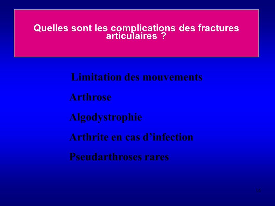 16 Quelles sont les complications des fractures articulaires .