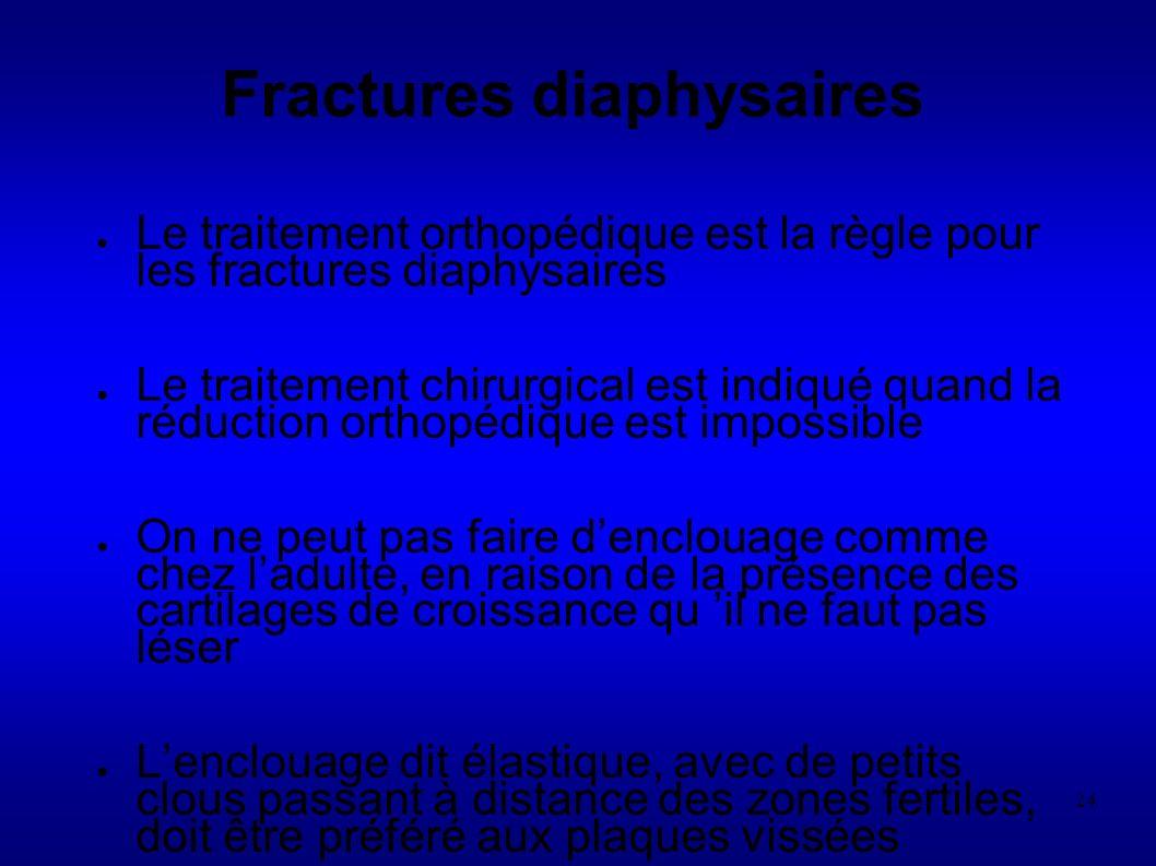24 Le traitement orthopédique est la règle pour les fractures diaphysaires Le traitement chirurgical est indiqué quand la réduction orthopédique est impossible On ne peut pas faire denclouage comme chez ladulte, en raison de la présence des cartilages de croissance qu il ne faut pas léser Lenclouage dit élastique, avec de petits clous passant à distance des zones fertiles, doit être préféré aux plaques vissées Fractures diaphysaires